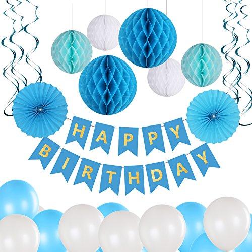 Glittel Geburtstag Party Dekoration Set 40x Deko Zubehör Happy Birthday Banner Grilande mit Seiden Wabenbälle Papierfächer Luftballons Spiralen für Kindergerburtstagsfeier (Willkommen Zu Hause Baby-jungen-banner)
