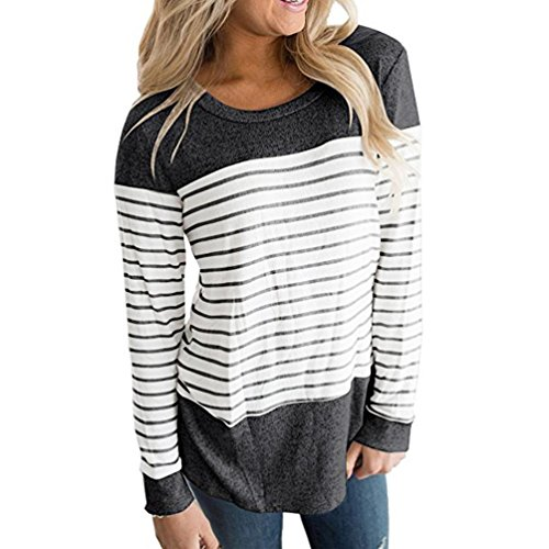 UFACE Damen Bluse Elegant Rundhals Lange Ärmel Farbblock gestreift T-Shirt Pullover Tops Blouse (Dark Gray, S) (Baumwolle Lange Ärmel Rüschen)