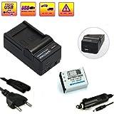 """LOOkit Set: 4in1 Chargeur + LOOKit® Batterie FNP-85 LI-ION 1600mAh - 100% compatible """"nouvelle génération"""" - pour FinePix SL1000, Fujifilm FinePix SL300, Fujifilm FinePix SL305, Finepix SL240, Finepix SL260, Finepix SL280"""