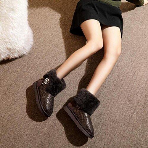 Tt & Xuedixue Femme Bottes De Neige / Bottines Plates / École Ainsi Que Des Bottes D'hiver En Velours / Couleur De La Lumière / Noir / Gris / Smart Couleur 80283- Couleur Intelligente