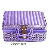 LYLESS Tragbare Kosmetik Gehäuse Rattan Geflecht mit Sperre Kleinen Fall Umweltschutz Kosmetische Hülle Retro-Gürtelschnalle Speicher Gehäuse Schmuck-Box,Purple