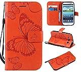 Hozor Samsung Galaxy S3/I9300 Handyhülle, Retro Großer Schmetterling Muster PU Kunstleder Ledercase Brieftasche Kartenfächer Schutzhülle mit Standfunktion Magnetverschluss Flip Cover Tasche, Orange