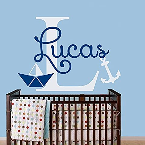 Name Wall Decals Ship Boat Decal Vinyl Nautical Nursery Boy Bedroom Room Bedroom Decor Monogram Letter Custom Name Decals Anchor Stickers Interior Art Decorations Home Window Design