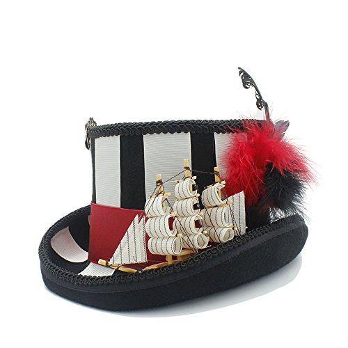 Hut 100% Wolle Steampunk Zylinder mit Piraten Cosplay Hut für Frauen Deckel (Farbe : Schwarz, Größe : 61 cm)
