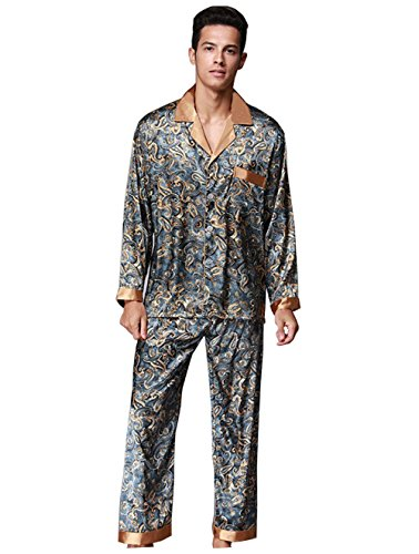 Logeliy Herren Pyjama-Sets Frühling und Herbst Anzugkragen mit langen Ärmeln + Hosen Nachtwäsche Männer Mode Freizeitkleidung Seide luxuriös Zweiteilige Anzüge Nachtwäsche , #102 , XXXL (Hose Flanell Set Pyjama)