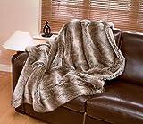 Jeté de canapé en fausse fourrure - modèle de luxe Tundra Wolf, Fourrure synthétique, taupe, Standard 140 x 180 cm