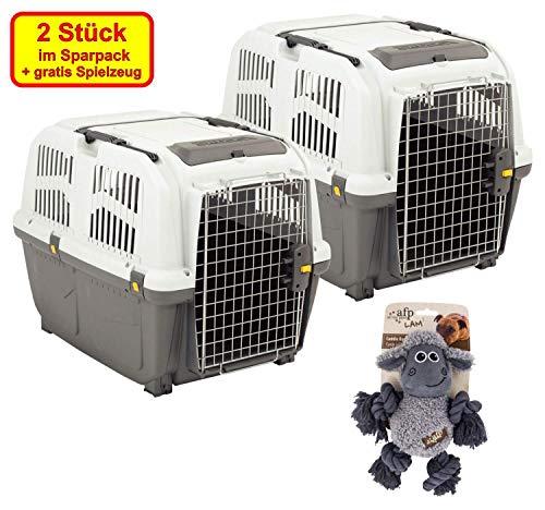 PETGARD 2er Sparpaket Transportbox SKUDO 4 IATA mit gratis Hundespielzeug 66 x 45 x 50 cm