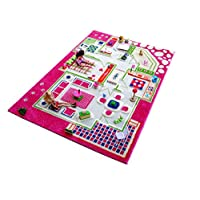 Little Helper CP-121MD015PE13203 3D Childrens Play Rug in Playhouse Design, Pink (134 x 180cm)