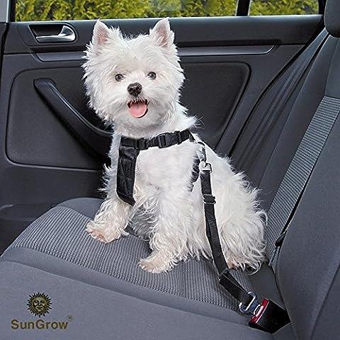 Snug et sécurisé réglable Sungrow Chien de voiture Ceinture de sécurité (lot de 2Ceinture)–sans tracas Clip universel Motif Confortablement Porte en position Entrebâillée votre chien Tandis que d'équitation dans une voiture