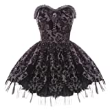 Search : Hell Bunny Black Damask Petal Gothic Victorian Steampunk Mini Party Prom Dress