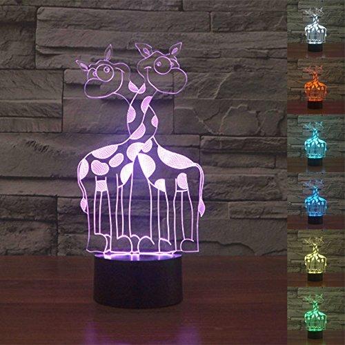 3D Giraffe Glühen LED Lampe 7 Farben erstaunliche optische Täuschung Art Skulptur Ferneinstellung Lichter produziert einzigartige Lichteffekte und 3D-Visualisierung für Home Decor-kreative Geschenk (Peanuts Halloween Dekoration)