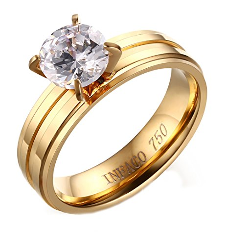 Heyrock CZ Engagement Ring For Women Fashion Gold Stainless Steel Wedding Bands