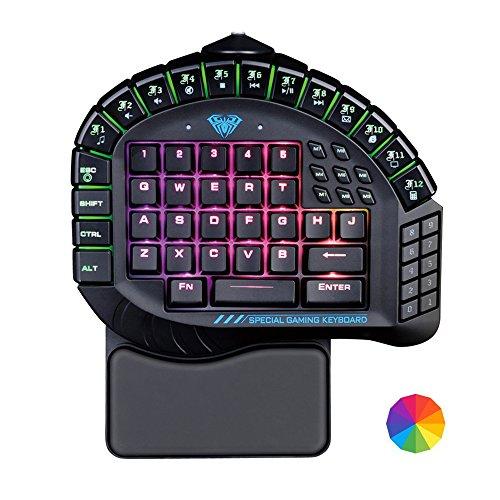 mostop Gaming Tastatur Einhand Tastatur Abnehmbarer Handauflage RGB Hintergrundbeleuchtung Mechanische Tastatur