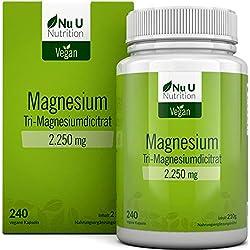 Magnesium - 2250mg Magnesiumcitrat 240 Kapseln enthält 360mg elementares Magnesium pro Tagesdosis Laborgeprüft und ohne Magnesiumstearat hochdosiert Magnesium Kapseln vegan hergestellt in Deutschland