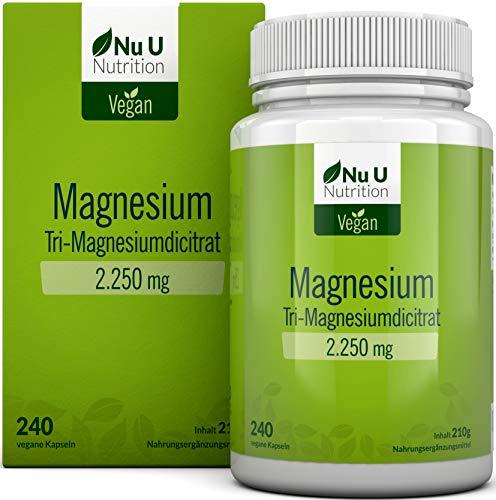 Magnesium Kapseln | 2250mg Magnesiumcitrat 240 Kapseln enthält 360mg elementares Magnesium pro Tagesdosis | Laborgeprüft & ohne Magnesiumstearat | hochdosiert | Vegan | hergestellt in Deutschland
