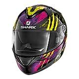Shark Motorradhelm Hark Ridill Threezy, Schwarz/Gelb/Lila, Größe XS