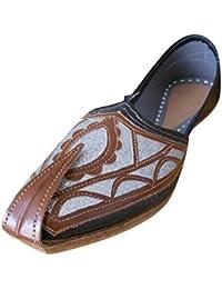 kalra Creations Hombre tradicional indio seda zapatos de Casual, color Multicolor, talla 41.5 EU