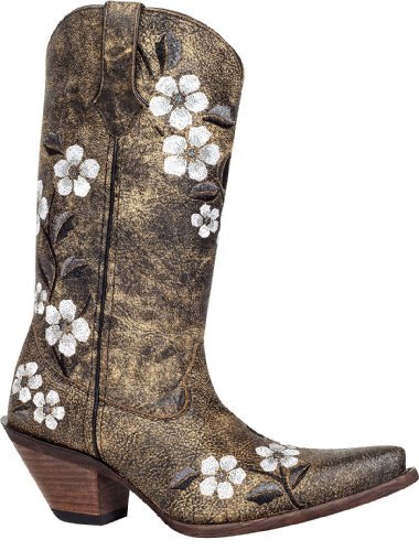 Durango Women's Crush Floral Flower Western Cowboy Cowgirl Boots RD3542 (Cowgirl Stiefel Durango)