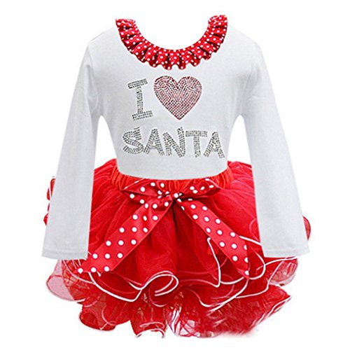 Baby Weihnachten Kleid Sonnena Christmas Mädchen Kleidung Kinder Partykleider Festliche Mädchenkleider Polka Dot Drucken Cocktailkleider Spitze Cupcake Miniröcke Bowknot (Weiß, Size 110) (Bowknot Drucken)