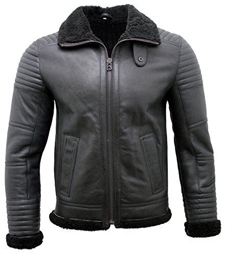 Männer schwarze Nappa-Leder Schaffell Bikerjacke XL
