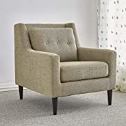 DOXY Upholstered Chair Fabric Armchairs for Living Room - Tufted Cushion Back, Solid Wood Legs | Accent Chairs