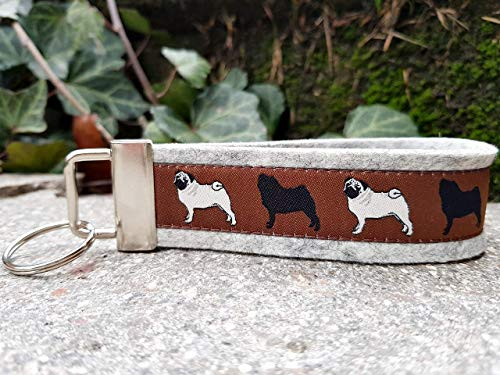 Schlüsselanhänger Schlüsselband Filz hellgrau Webband Mops Hunde beige schwarz Geschenk! -