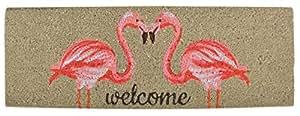 Esschert Design RB189 Kokosmatte Flamingo Türmatte, Kokosfaser, PVC, Braun;Pink, 75 x 25 x