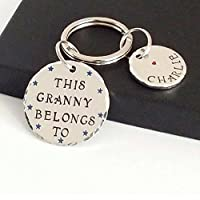 Grandparents Gifts, Personalised Keyring for Grandma, Custom Keychain