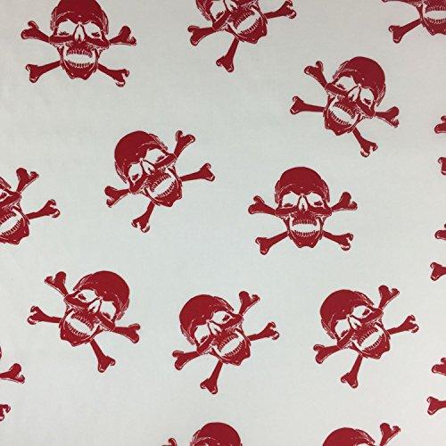 gekreuzten Knochen Totenkopf Design 100% Baumwolle gedruckt Stoff für,, Kleid 152,4cm 150cm breit-Meterware ()