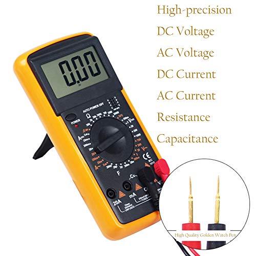 Digital Multimeter LCD Voltmeter Amperemeter Spannungsprüfer Ohmmeter Strommessger?t Durchgangsprüfer Mini Hand-Multimeter Widerstand Multimeter für Schule Labor Factory uswc Yellow