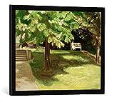 Gerahmtes Bild von Max Liebermann Gartenbank unter dem Kastanienbaum-Blühende Kastanien, Kunstdruck im hochwertigen handgefertigten Bilder-Rahmen, 70x50 cm, Schwarz matt