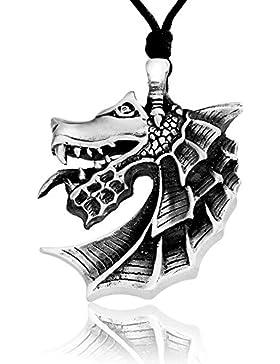 Llords Schmuck großer Drachenkopf Anhänger Drachen Halskette, feinster Zinn Metall Modeschmuck