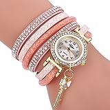 HUIHUI Uhren Damen, Geflochten Armbanduhren Günstige Uhren Wasserdicht Casual Analoge Quarz Uhr Luxus Armband Coole Uhren Lederarmband Mädchen Frau Uhr (Rosa)