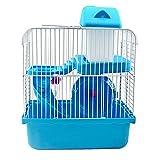 Castillo de lujo jaula de hámster pequeñas jaulas de animales con dormitorio hamsters rueda de alimentos cuenca hervidor de diapositivas casa azul