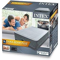 Colchón hinchable de Intex, con inflador incluido, 152x 203x 46cm (230V, 0,38mm de grosor, base de vinilo, resistente al agua, incluye bolsa, B64424), gris