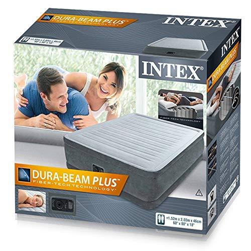 Colchón hinchable de Intex, con inflador incluido, 152x 203x 46cm (230V, 0,38mm...