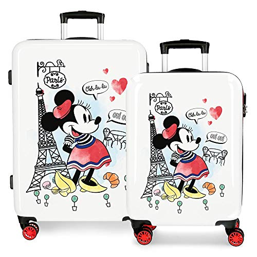 Set valigie rigide 55-68cm Minnie Around the World Paris Rosso