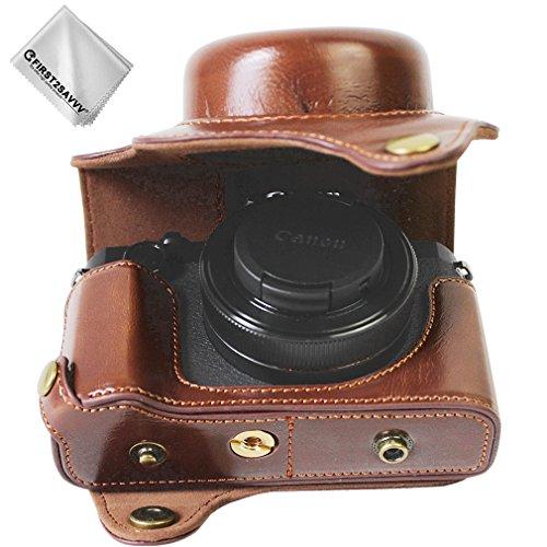 First2savvv dunkelbraun Premium Qualität Ganzkörper- präzise Passform PU-Leder Kameratasche Fall Tasche Cover für Canon PowerShot G1 X Mark III mit Reinigungstuch - XJD-G1X Mark III-HH10