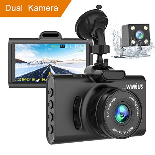 """WiMiUS Dashcam Dual Auto Kamera, Super Nachtsicht Vorne 1080P Hinten 720P Full HD Auto Kamera mit 3\"""" IPS Bildschirm,170°Weitwinkelobjektiv, G-Sensor, WDR, Loop-Aufnahme, Parkmonitor"""