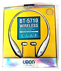 Ubon BT-5710 Bluetooth in Ear Sports Neckband Headphone with Mic for Android/iOS Devices (White)