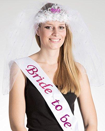 Party-Teufel Set: Satin-Schärpe und blinkende Tiara mit Brautschleier mit der Aufschrift Bride-to-Be Accessoires Junggesellenabschied