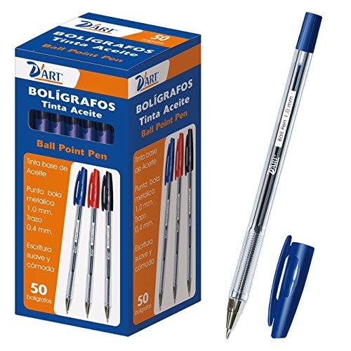 D'Art 79410 - Caja de bolígrafos, 1 mm, 50 unidades, color azul