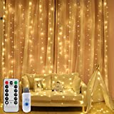 LEDGLE Luci Cascata per Finestra Balcone 300 LED, IP65 Impermeabile, 8 modalità, Controllo remoto Senza Fili, Lucine fatate romantiche per Decorazione Feste Natale Capodanno Bianca Calda 3000K