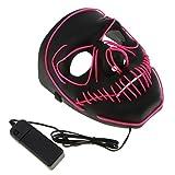 D DOLITY LED Leuchtende Schädel Maske Skelett Maske Halloween Kostüm Maske mit Batterie Energie Erhalten - Rosa
