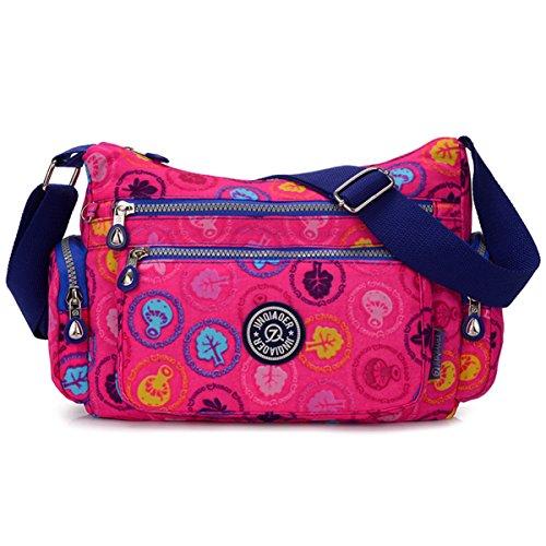 Tiny Chou leicht wasserdicht Nylon Schultertasche Umhängetasche Messenger Tasche mit vielen Reißverschluss Taschen, Violett - Plum Mushrooms - Größe: (Medium Nylon-tasche)