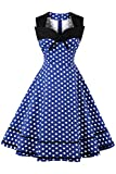 Damen 1960s Vintage swing Polka Dots Kleid Cocktailkleid Faltenrock Knielang Blau XXL