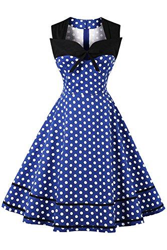 MisShow Robe Femme Vintage Grande Taille Swing Evasée en Coton Rétro année 1940s pour Soirée Mariage Robe de Cocktail Mi Longue Bleu 4XL