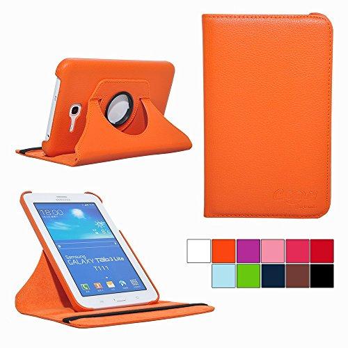 COOVY® Cover für Samsung Galaxy TAB 3 LITE 7.0 SM-T110 SM-T111 Rotation 360° Smart Hülle Tasche Etui Case Schutz Ständer | Farbe orange (Tablet Orange 7 Cases)