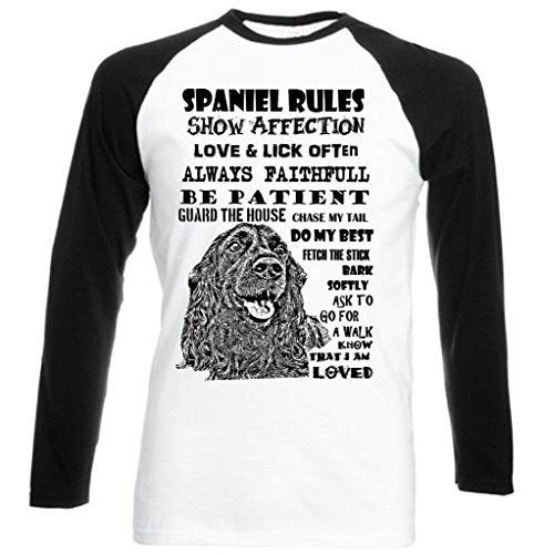 Teesquare1st Men's BLACK COCKER SPANIEL DOG RULES Black Sleeved Baseball T-Shirt Size Large
