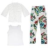 CHIC-CHIC Enfant Fille 3PCS Ensemble d'été Gilet Vest Princesse + T-shirt Blanc sans Manches + Pants Pantalons Leggings Imprimé Floral Vintage Plage (5-6ans, Fleur)